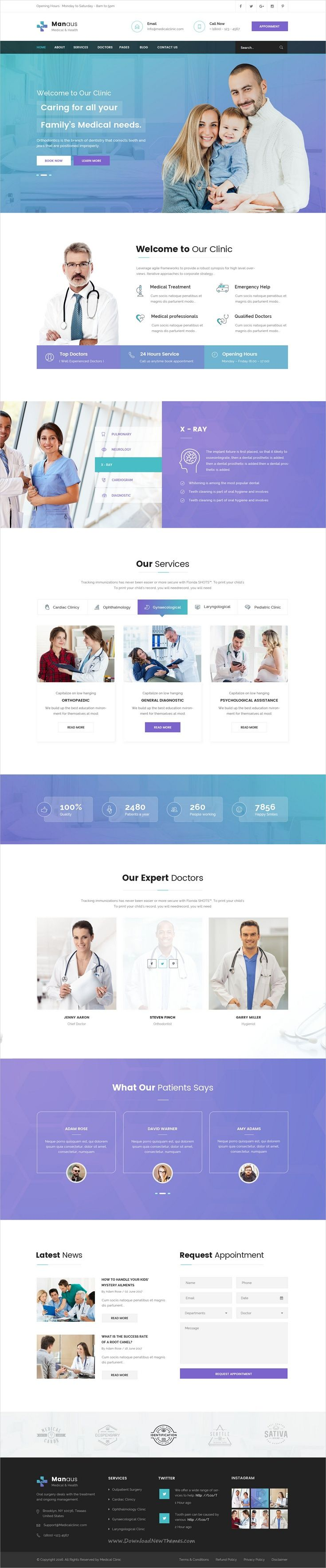 Manaus is clean and modern design #PSD template for #medical and healthcare website with 12 layered PSD files download now..