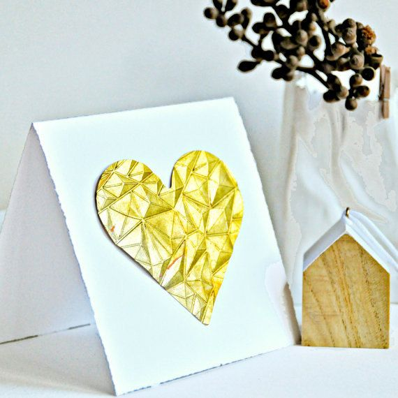 Embossed Gold Foil Heart Card | Wedding Engagement Cards | Love Heart Card