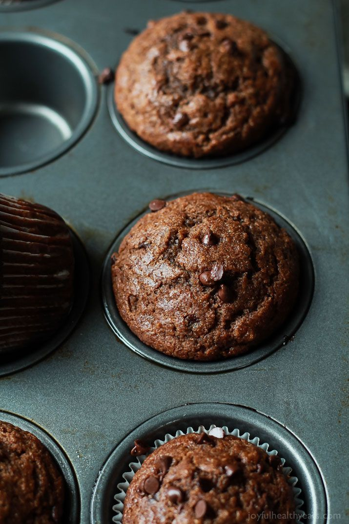 No Refined Sugar, crazy moist, loads of chocolate flavor with great banana taste. These Skinny Double Chocolate Banana Muffins are the muffins of your dreams! | joyfulhealthyeats.com #recipes