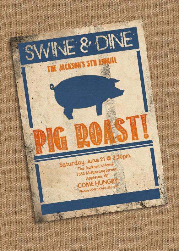 Pig Roast Party Invitation by lklaflen on Etsy, $16.00