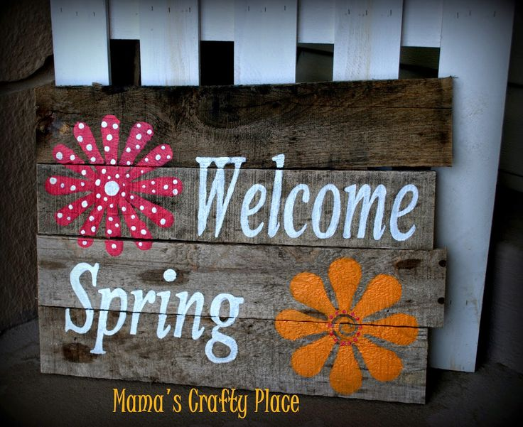 Welcome Spring pallet wood sign
