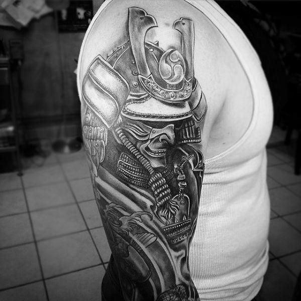 403 best images about samurai tattoo on pinterest masks for Upper arm half sleeve tattoos