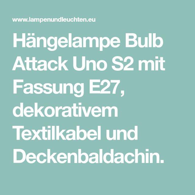 Hängelampe Bulb Attack Uno S2 mit Fassung E27, dekorativem Textilkabel und Deckenbaldachin.