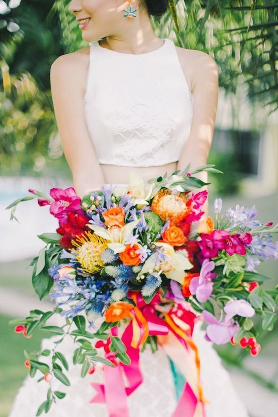 colorful boho wedding bouquet