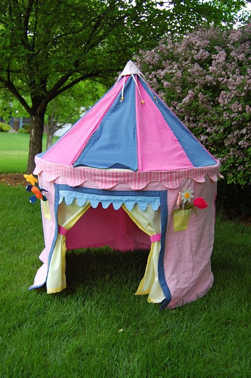Homemade play tent made from a table