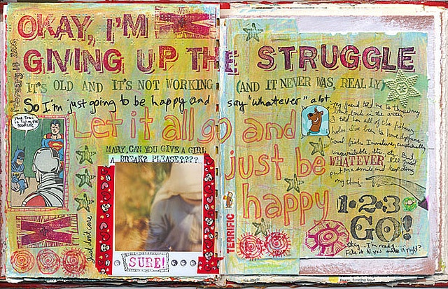 I'm giving up the struggle, let it all go and just be happy #upliftingwords #arttherapy #cheerup
