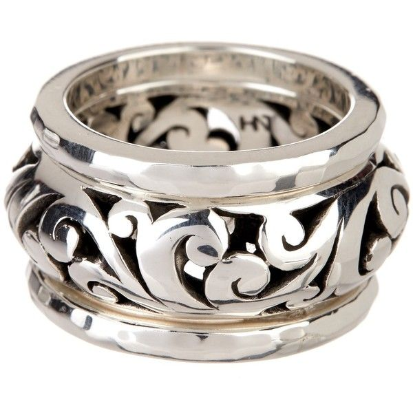 Lois Hill Sterling Silver Hammered & Open Scroll Stack Ring Set - Size... ($119) ❤ liked on Polyvore featuring jewelry, rings, silver, lois hill jewelry, sterling silver rings, hammered ring, band rings and sterling silver jewelry