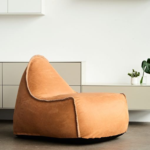 High Quality And Luxurious Lounge Chair RETROit Dunes Cognac By SACKit A Truly Unique Bean Bag