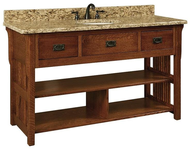 Amish 60 lancaster mission open single bathroom vanity for Open bathroom vanity cabinet