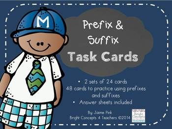 These 2 sets of 48 prefix and suffix task cards are great to use for reinforcing understanding of prefixes and suffixes and how they change root word meanings.Each set includes a cover, definition cards for prefix and suffix, as well as a bonus question.Set 1: Multiple choice answersSet 2: Free response answersYou can laminate the cards and have students write their answers directly on the cards with dry erase markers or they can use the included student recording sheets.