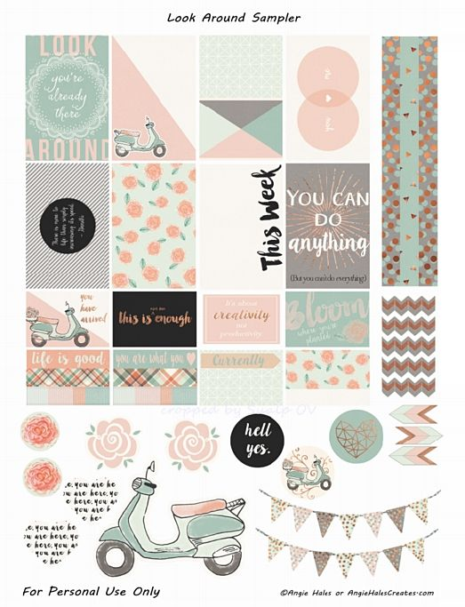 FREE Look Around Sampler Planner Sticker Printables- freebie by AMHales