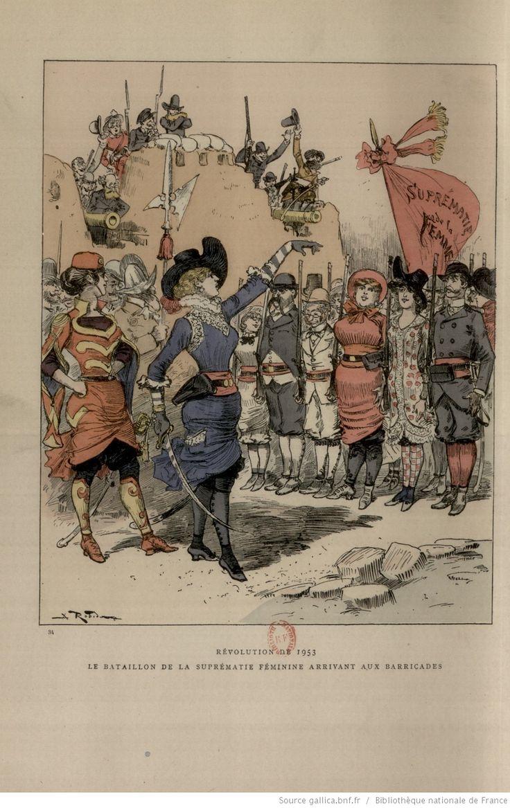 """Albert Robida, « Révolution de 1953 : Le bataillon de la suprématie féminine arrivant aux barricades », in : """"Le vingtième siècle"""", Paris, G. Decaux, 1883"""