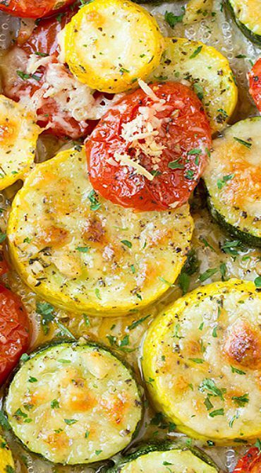 Roasted Garlic-Parmesan Zucchini, Squash and Tomatoes- 4.5 stars! Delicious for company