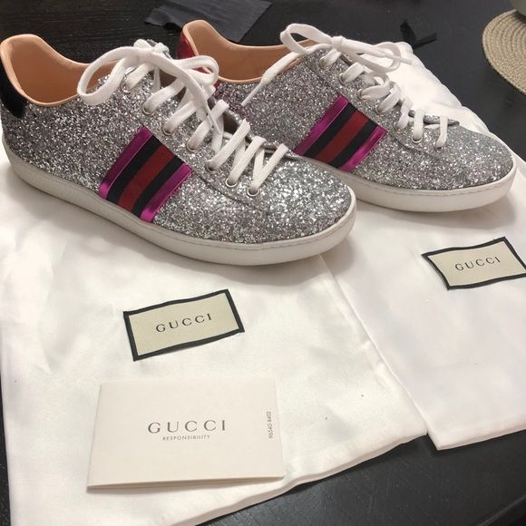 Gucci ace glitter sneakers | Glitter