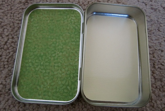 Altoid Tin album, with measurements for all paper needed to cover.