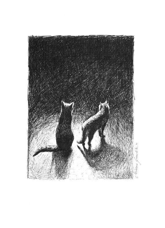 NIGHTLY CAT II - Fine Art Print after an original drawing by Milena Gawlik, Black & White