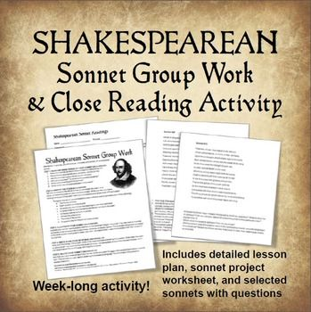 close reading of sonnet Close reading of sonnet 130: form, theme, and cultural context  brief unit on  the sonnet in order to help my students get accustomed to the.