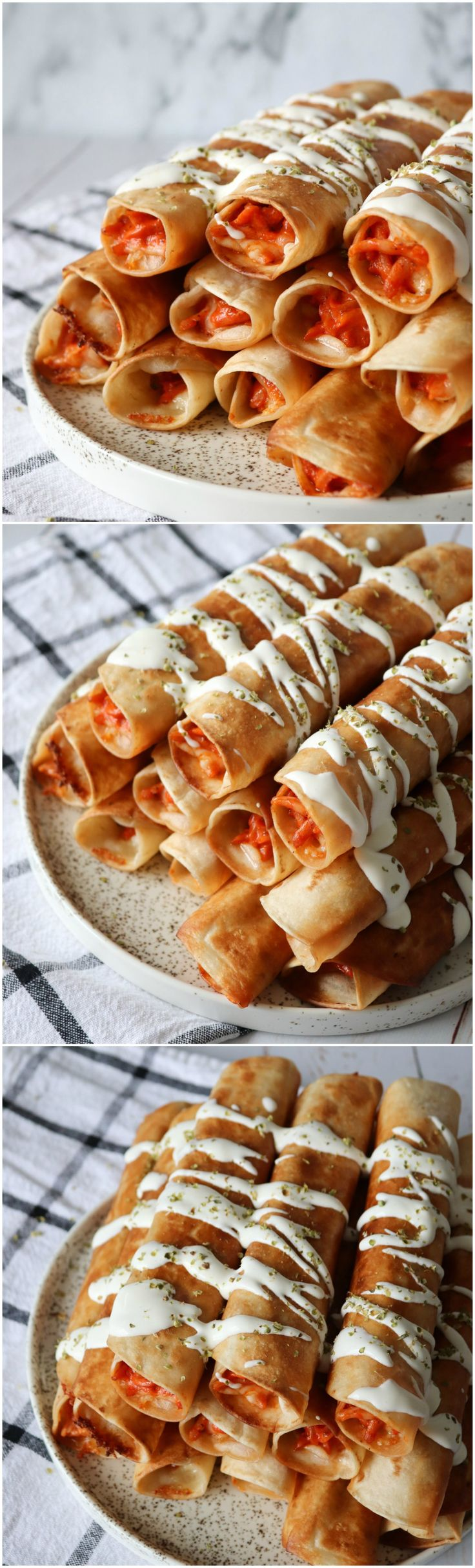 Delicious pizza taquitos! They are so crispy and filled with a yummy ham pizza filling! A true party snack or dinner treat!