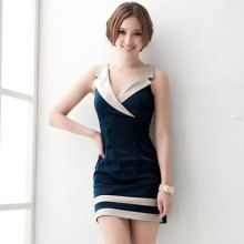 Cheap Wholesale Office Lady Style Sexy Lapel Color-Match Double-Breasted Stripe Hem Blue Sleeveless Polyester Dress For Women (BLUE,ONE SIZE) At Price 11.03 - DressLily.com