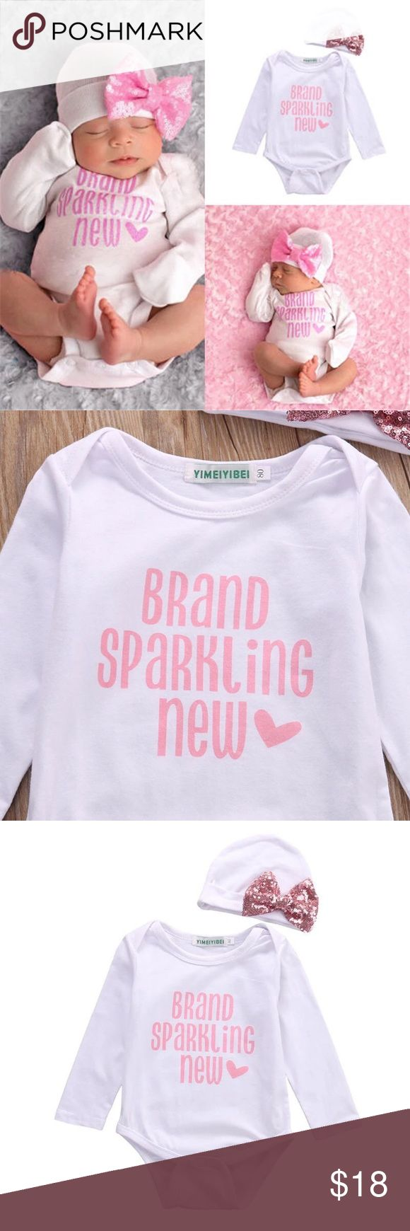 """Baby Girl Onesie & Hat. """" Brand Spanking New"""" Pre-Order This Adorable Outfit. It is a Baby Girl Onesie & Hat with a bow. States- """"Brand Spanking New"""".  Available in various sizes. One Pieces Bodysuits"""
