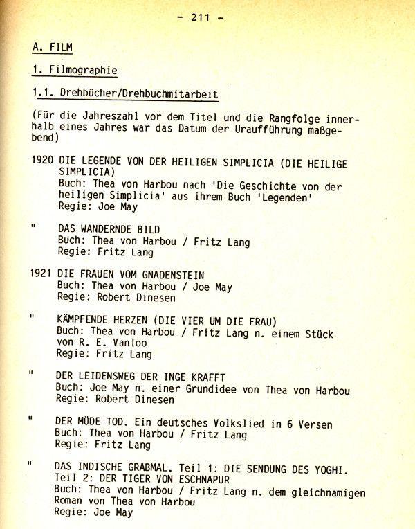 """Auszug Thea von Harbou-Filmografie in dem Buch """"Thea von Harbou und der deutsche Film bis 1933""""!"""