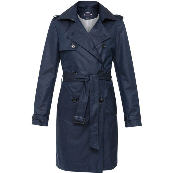 Saint James Navy Trench Coat With Detachable Belt (£370) ❤ liked on Polyvore featuring outerwear, coats, navy, double-breasted coat, navy trench coats, navy double breasted coat, navy blue coats and navy blue trench coats
