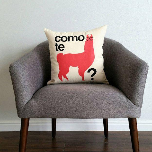 A clever llama throw pillow.