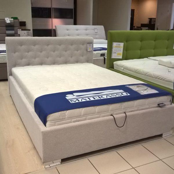 eleganckie łóżko tapicerowane Alesia z pojemnikiem na pościel, pod materac 140x200. Bardzo dobra tkanina Stone, dostępne od ręki w salonie Doria Warszawa.