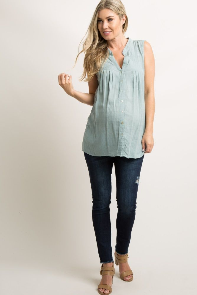 Buttoned sleeveless maternity top with mint   – Products