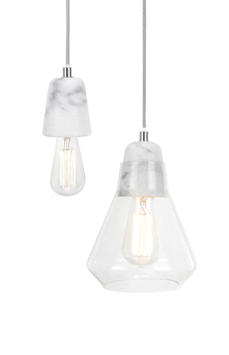 Ando 1 light pendant with marble lampholder and grey cabling without or with glass shade.