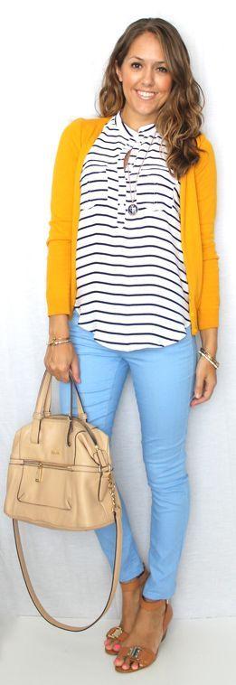 Light blue jeans, mustard cardi and B&W top