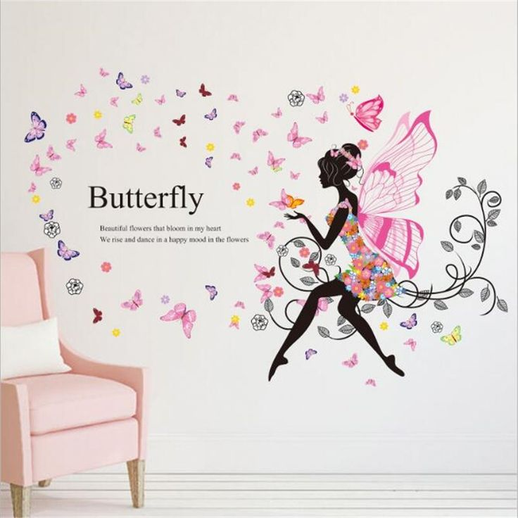 Attractive Amazon.com: Fairies Angel Elf Girl Butterfly Flowers Art Decal Wall  Stickers Sweet Romance