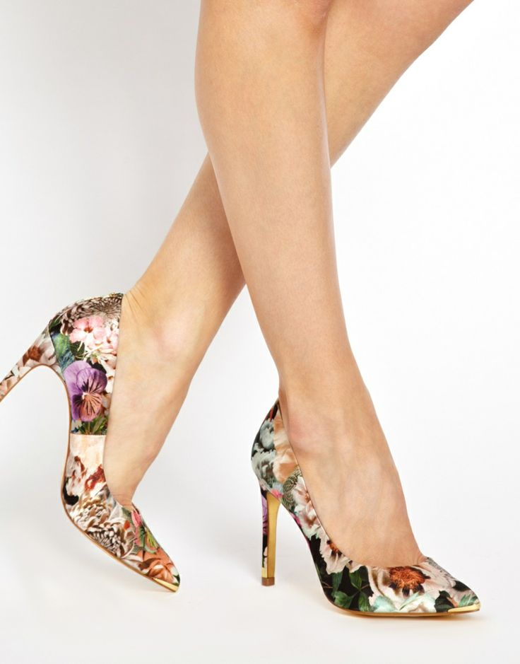 Ted Baker; floral heels, pointed toe