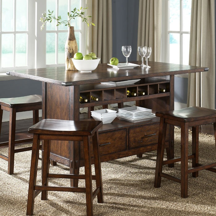 dining sets island table brown finish cabin fever kitchen islands