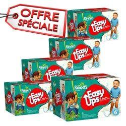 Maxi Giga Pack Jumeaux d'une quantité de 570 Couches de la marque Pampers Easy Up taille 6 sur Les Looloos