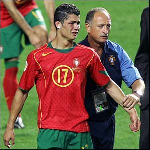 Luiz Felipe Scolari consoles Christiano Ronaldo after Portugal lose to Greece in the final of Euro 2004.