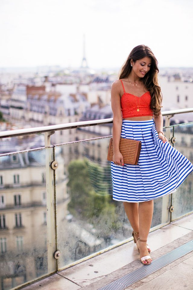 @roressclothes closet ideas #women fashion outfit #clothing style apparel Tank Top and Striped Skirt via