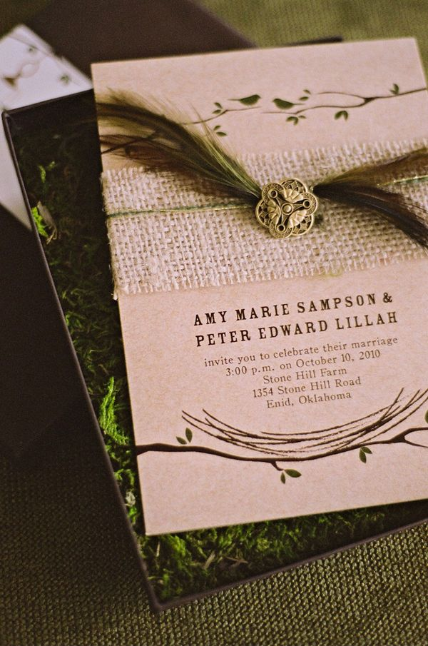 how to make film canister wedding invitations%0A Wedding program with burlap  feather and button detail  Love
