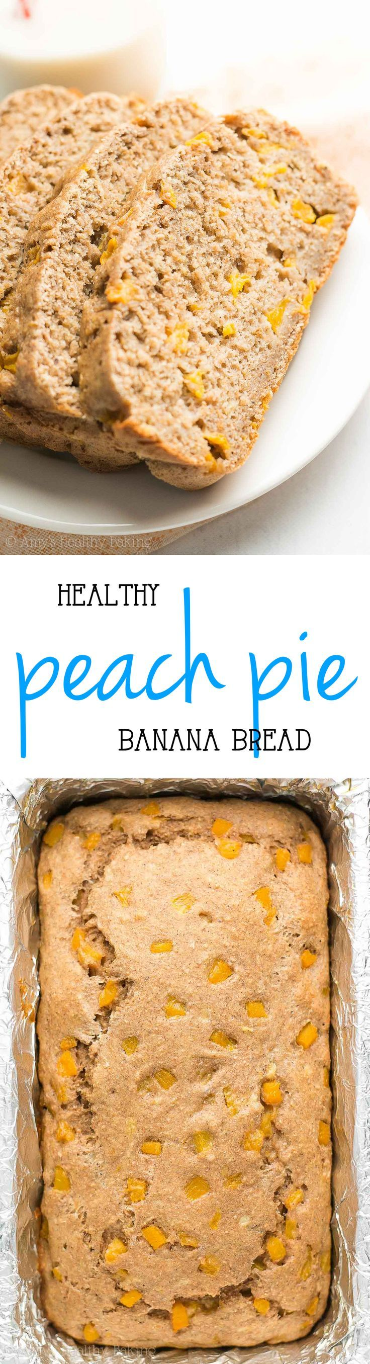 This easy & {HEALTHY!} Peach Pie Banana Bread recipe is amazing! Only 106 calories! Great for quick breakfasts & snacks!