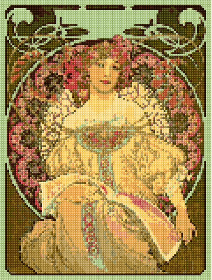 Cross stitch pattern Alphonse Mucha Champagne Art Nouveau PDF- New EASY chart with one color per sheet And regular chart! Two charts in one! by HeritageCharts on Etsy