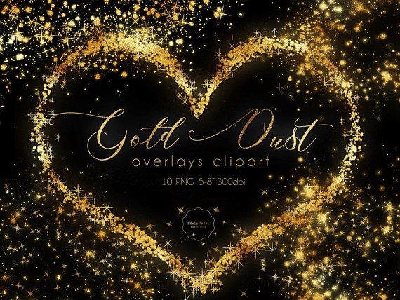 Gold Dust Clipart Glitter Overlay Sparkles Clip Art Etsy