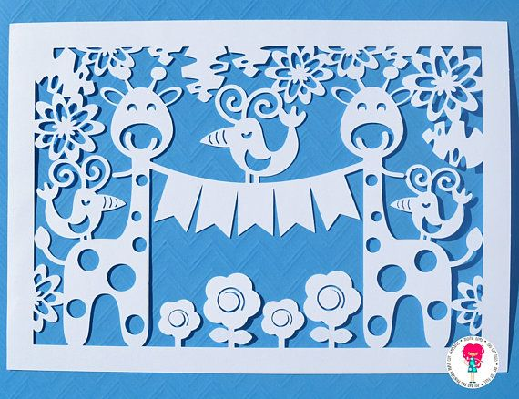 Giraffe and Bird paper cut svg / dxf / eps / files and pdf /