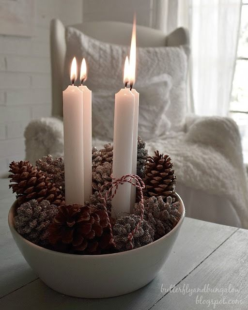 Simple Advent wreath. All you need are pine cones, a bowl and a little baker's twine.