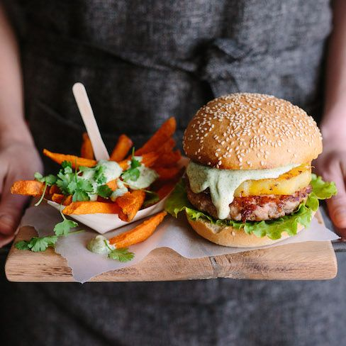 Fresh Feasting with Pork 360: Pork & Pineapple Burgers with Herb Mayo  |  The Food Fox