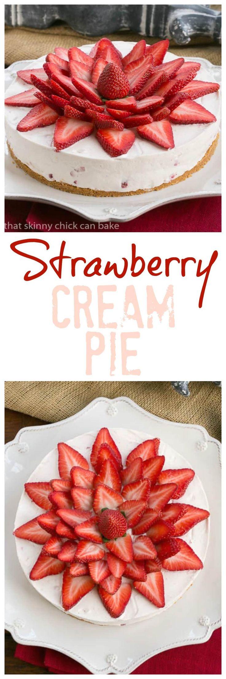 Strawberry Vanilla Cream Pie | An exquisite strawberry and cream dessert! @lizzydo