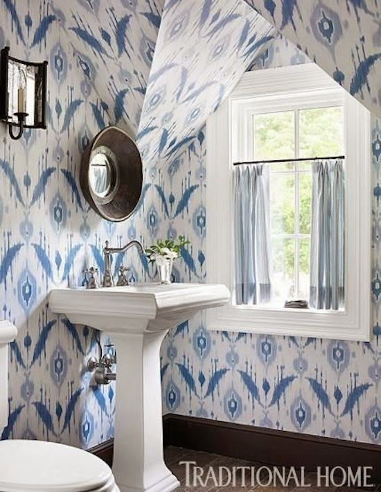 We love this exuberant blue ikat. - Traditional Home ® / Photo: Emily Jenkins Followill / Design : Will Huff and Heather Zarrett Dewberry