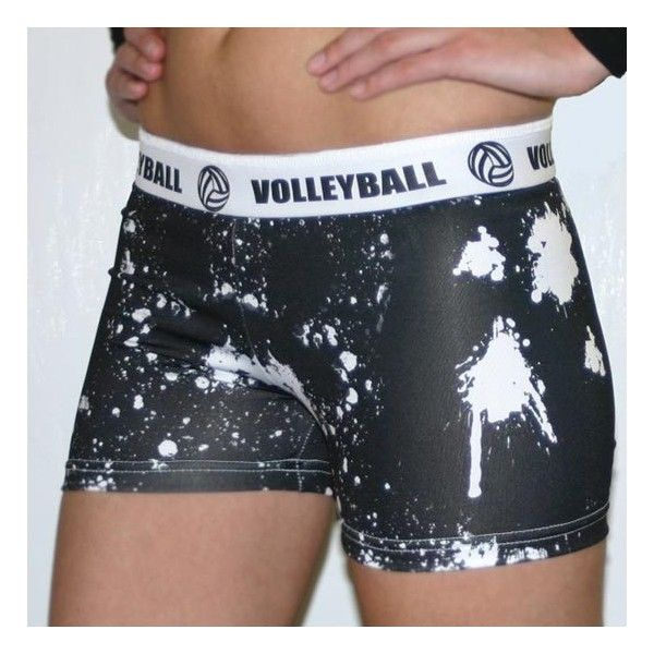 Svforza White Splat Volleyball Spandex Short ($25) found on Polyvore