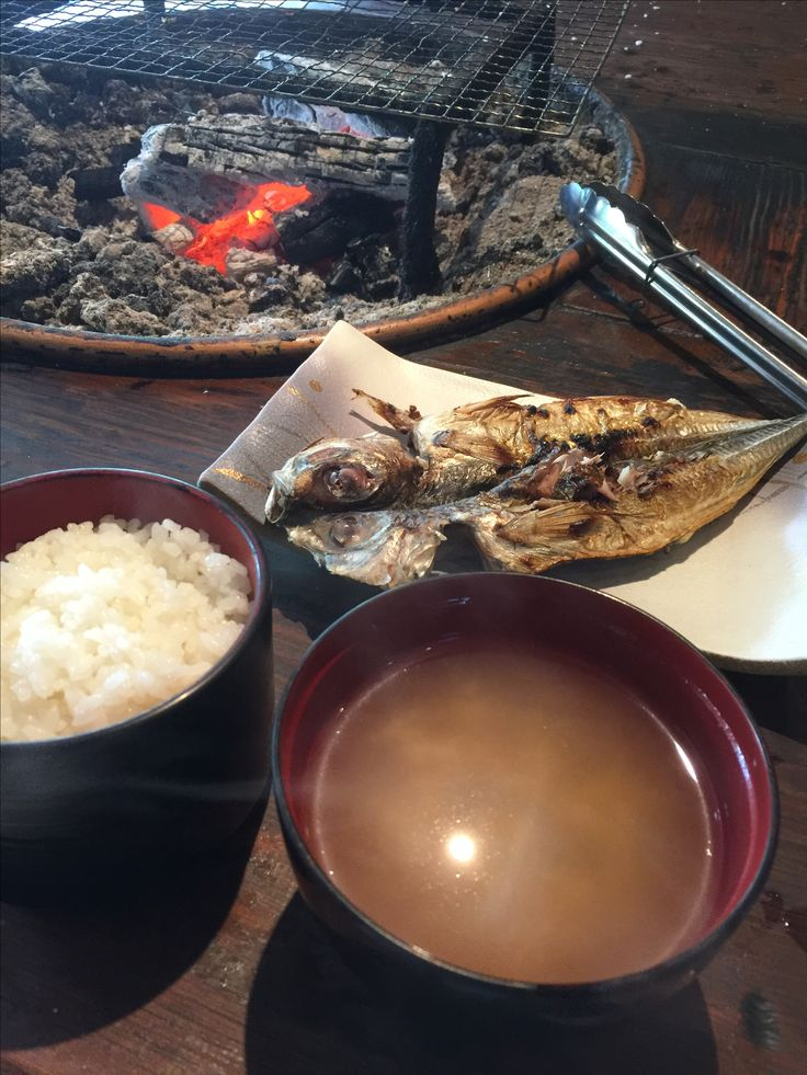 Japanese common meal - Rice, Miso soup, grilled fish.