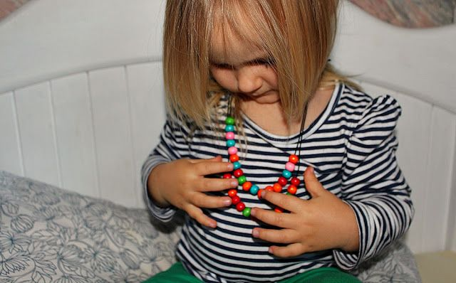 DYI necklace by a child.