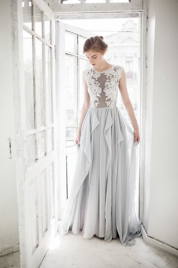 Grey wedding dress - Iris / http://www.deerpearlflowers.com/non-white-colorful-wedding-dresses-from-etsy/